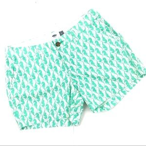 Old Navy Teal Green Seahorse White Shorts 4